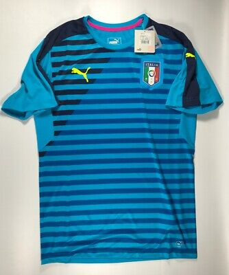 79769df4c Puma 2016/17 Italy Italia Men's Striped Blue Training Shirt Size Medium NWT