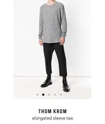 Thom Krom Elongated Sleeve Tee Men's Large Gray Super Soft Crew Neck MTS371