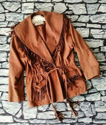 Vintage 80s 90s buckskin suede leather fringe tassle cowboy western jacket L