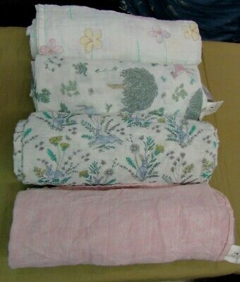 "Aden + Anais Classic Swaddle Wrap 4pk - Forest Fantasy 47""x47""  Deer - Rabbit"