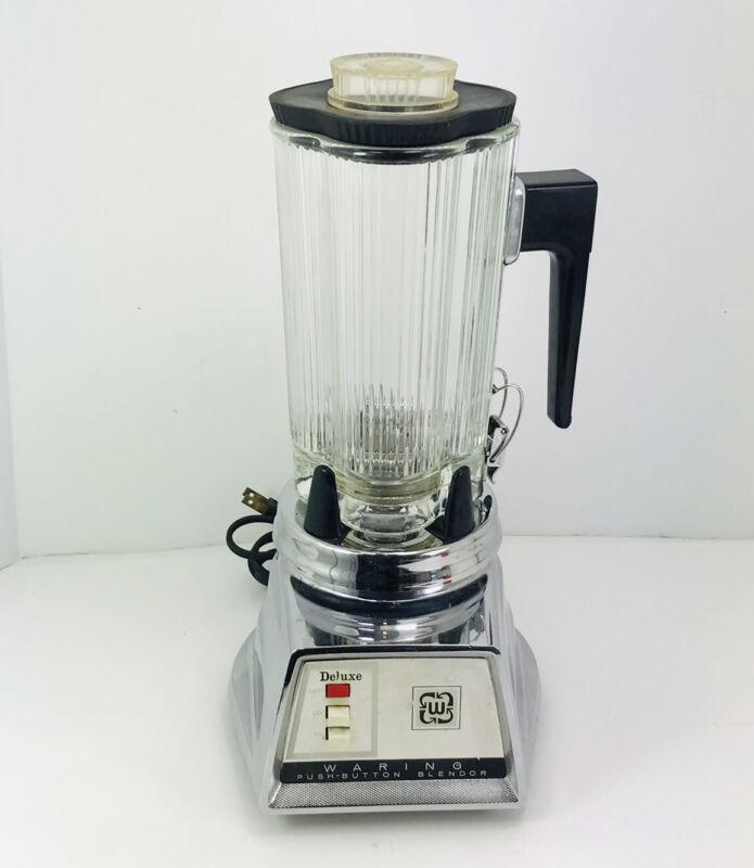 Vintage Waring deluxe Blender Blendor Model 1046 Chrome Glass Midcentury VG 32oz