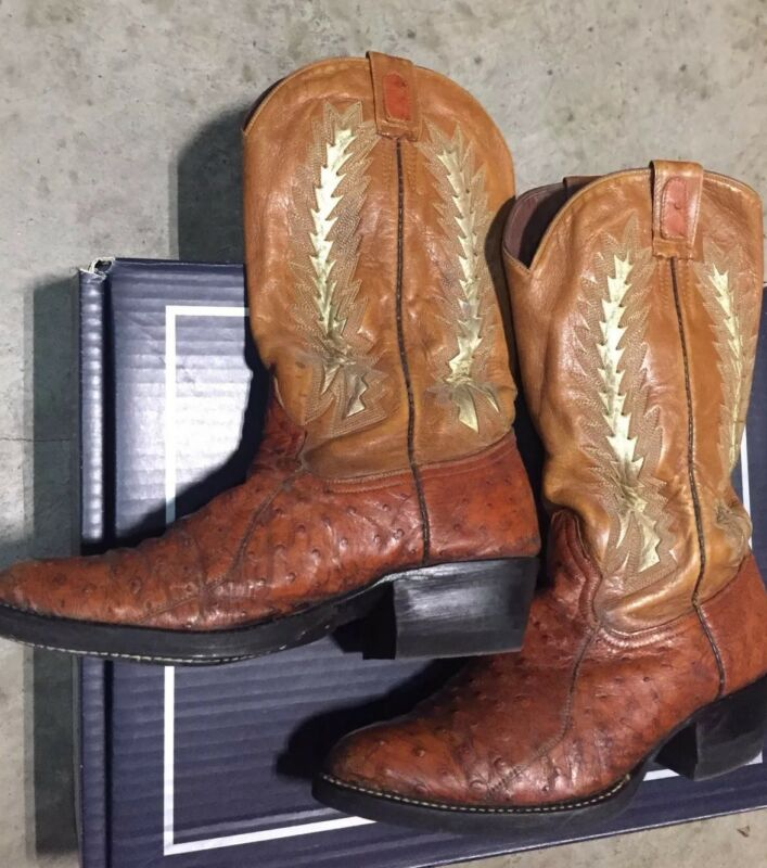 Rio, Bravo, Mens, Full, Quill, Ostrich, Cowboy, Boots, Size, 9.5, cognac, tan, color