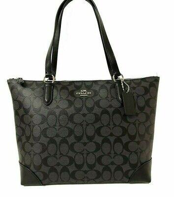 New Authentic Coach F29208 Zip Top Tote Handbag Purse Signature Black Silver Authentic Purse Handbags