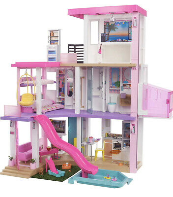 Barbie Dreamhouse 3.75-ft 3-Story Dollhouse Playset with Pool & Slide Kids Gift