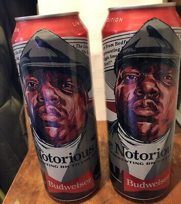 Budweiser Can 25oz  2 Notorious B.I.G Opened Limited Edition  (not Perfect Cans)