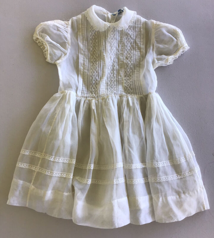 Honeyland vintage Girl Dress Size 7-8 Sheer Ivory
