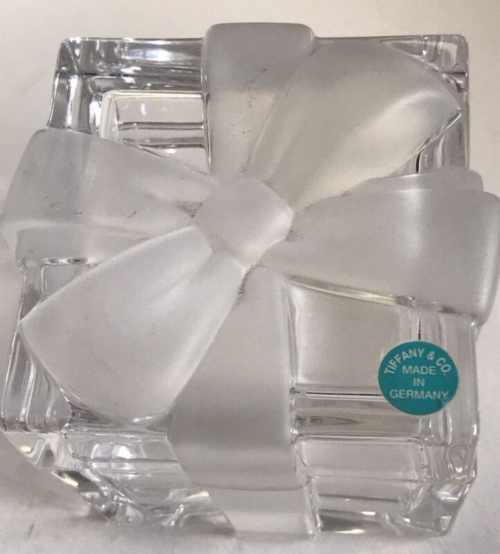 Vintage Tiffany & Co Crystal Glass Bow Box Jewelry Trinkets Germany