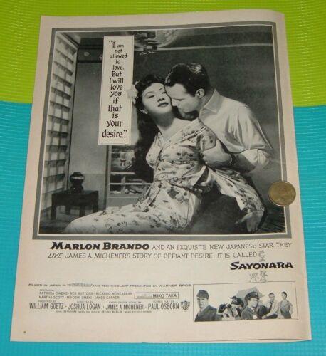 1957 MOVIE AD~MARLON BRANDO  MIYOSHI UMEKI in SAYONARA James Micheners Story