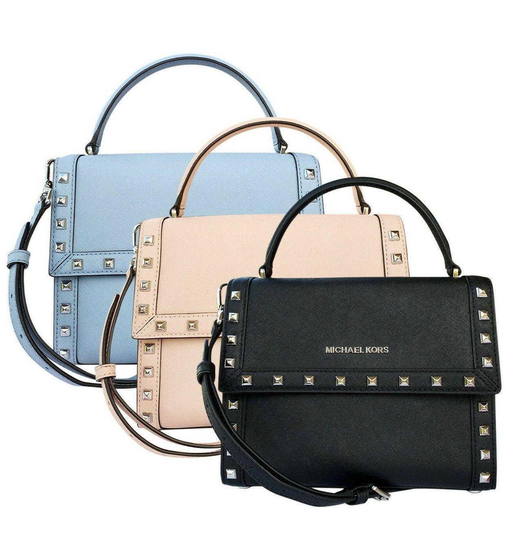 Michael Kors Dillon Studded Medium Top Handle Messenger Bag Black Pink Blue