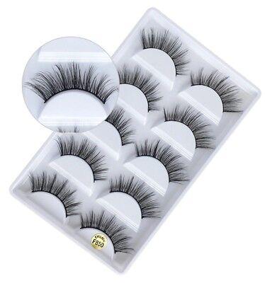 NEW 5Pair 3D Mink False Eyelashes Wispy Cross Long Thick Soft Fake Eye Lashes UK