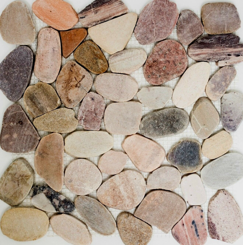 Flusskiesel Steinkiesel beige grau rot BAD WC Wand Dusche Boden WB30-0204|1Matte