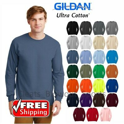 Gildan Ultra Cotton Long Sleeve T-Shirt Heavy Weight Mens Thick Plain Warm (Gildan Ribbed T-shirt)