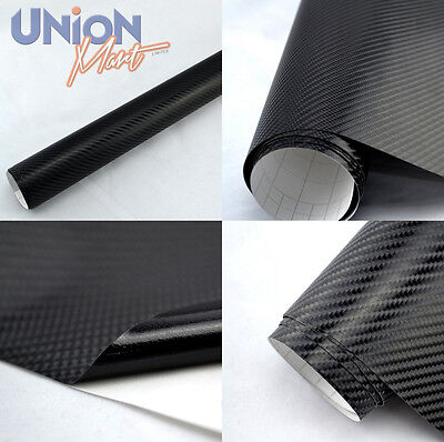 Black Vinyl Wrap, 4D Gloss Carbon Fibre Film Bubble / Air Free - 1520mm x 600mm
