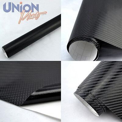 1520mm x 600mm Black 4D Gloss Carbon Fibre Vinyl Wrap Film  Bubble / Air Free