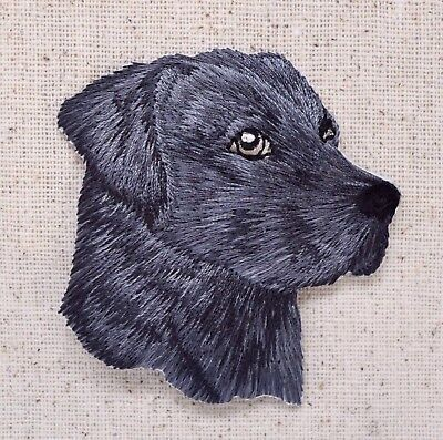 Black Lab Head Puppy/Dog Labrador Retriever Iron on Applique/Embroidered Patch for sale  Shipping to India
