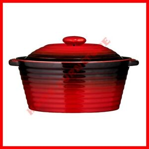 KITCHEN RED BLACK CASSEROLE DISH PAN STONEWARE WITH LID NON-STICK TEFLON COATING