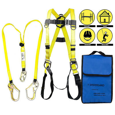 3 D-ring Full Body Fall Protection Safety Harness2 Rebar Hooks Lanyardyellow