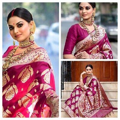 Banarasi silk saree ethnic pakistani wedding designer indian bridal formal sari