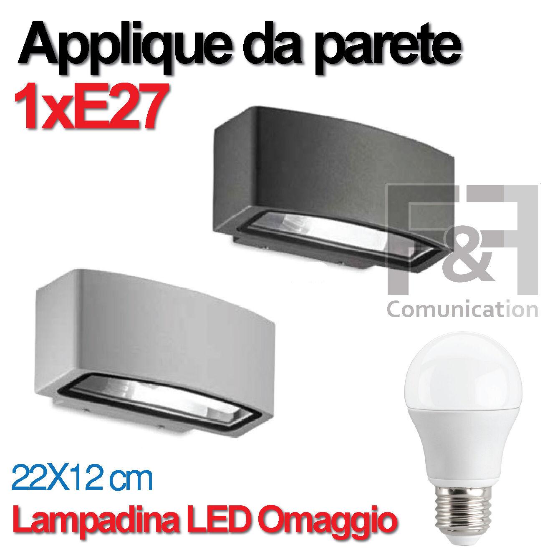 PLAFONIERA STAGNA APPLIQUE DA ESTERNO DOPPIA LUCE ACCIAIO VETRO E27 LAMPADA LED