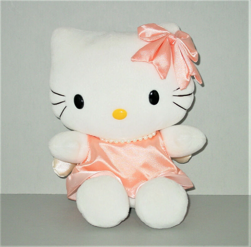 Hello Kitty Plush Angel Orange Dress and Bow Pearl Necklace