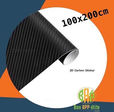 3D Carbon Selbstklebende Folie schwarz blasenfrei 100x200cm Carbon Optik Style