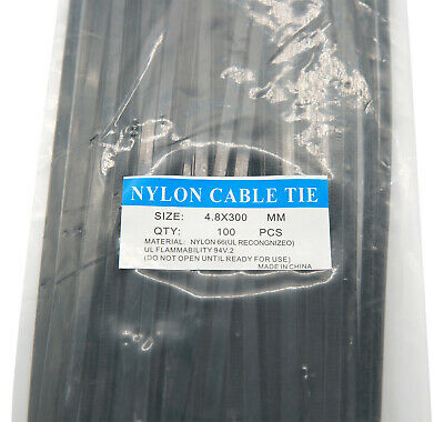 12 Black Nylon Cable Tie Zip Heavy Duty Plastic Wire - Pack Of 100pcs