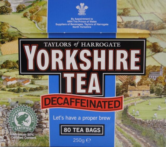 Taylors Of Harrogate Yorkshire Decaffeinated Decaf Tea Bags 80s 250g Brand New