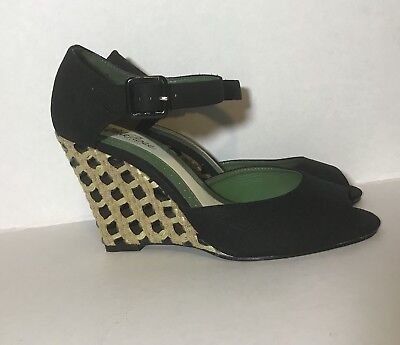 Lela Rose Payless Black Peep Toe Wedge Heel Size 9