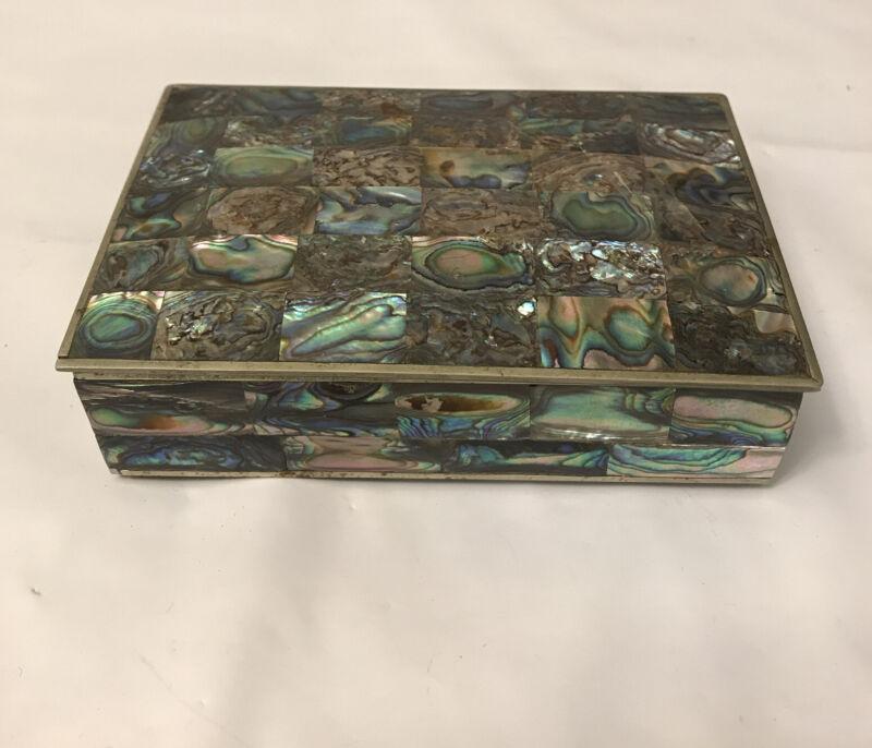 AMAZING MEXICO ABALONE SHELL TRINKET / JEWELRY BOX