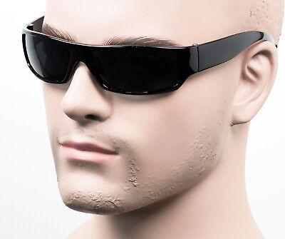 Gangster Style Sunglasses Slim Cholo Wrap Super Dark OG LOC Black Glossy (Dark Sunglass)
