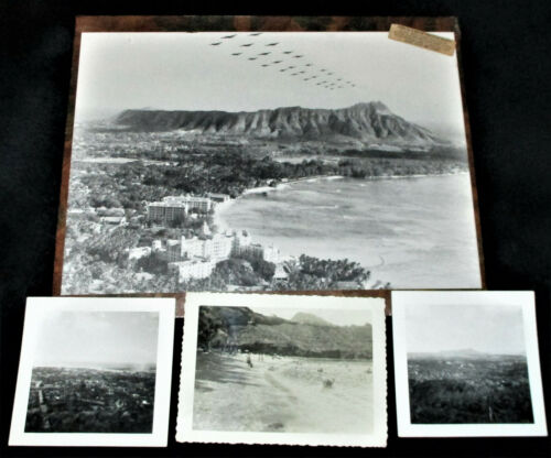 Hawaii 4 PHOTOGRAPHS AF BOMBERS FLYING OVER DIAMOND HEAD Hanauma Bay Honolulu