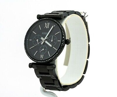 Women's Fossil Watch, Carlie Black Stainless Steel Watch ES4543, New