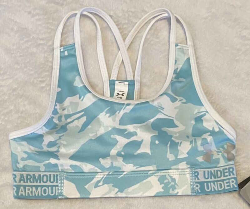 Girl's Under Armour Heatgear FITTED Sports Bra Aqua Blue White Youth Small NWT