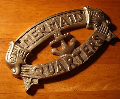 BRASS MERMAID QUARTERS Nautical Sailboat Anchor Sign Sailing Boat Home Decor NEW