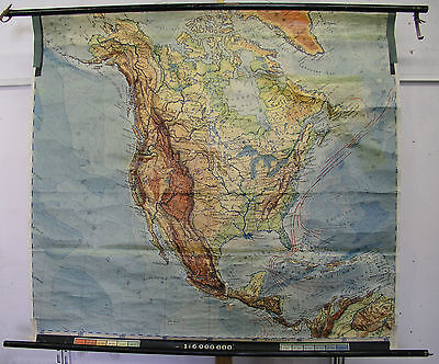 Schulwandkarte America North America Wall Map Canada USA 1950 151x138 Wall Map