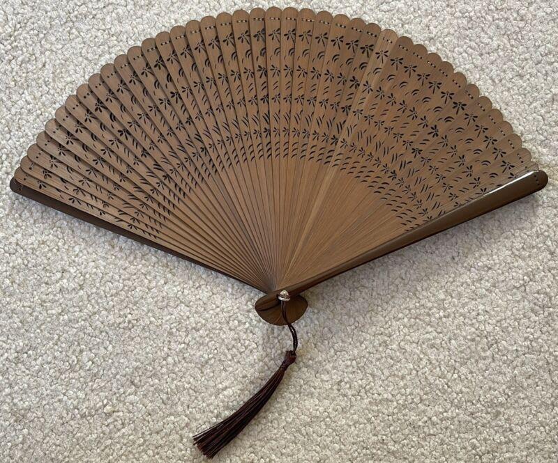 Brown - Bamboo Hand Held Folding Wedding Fan w/ Nylon Fan Bag - Dragonfly