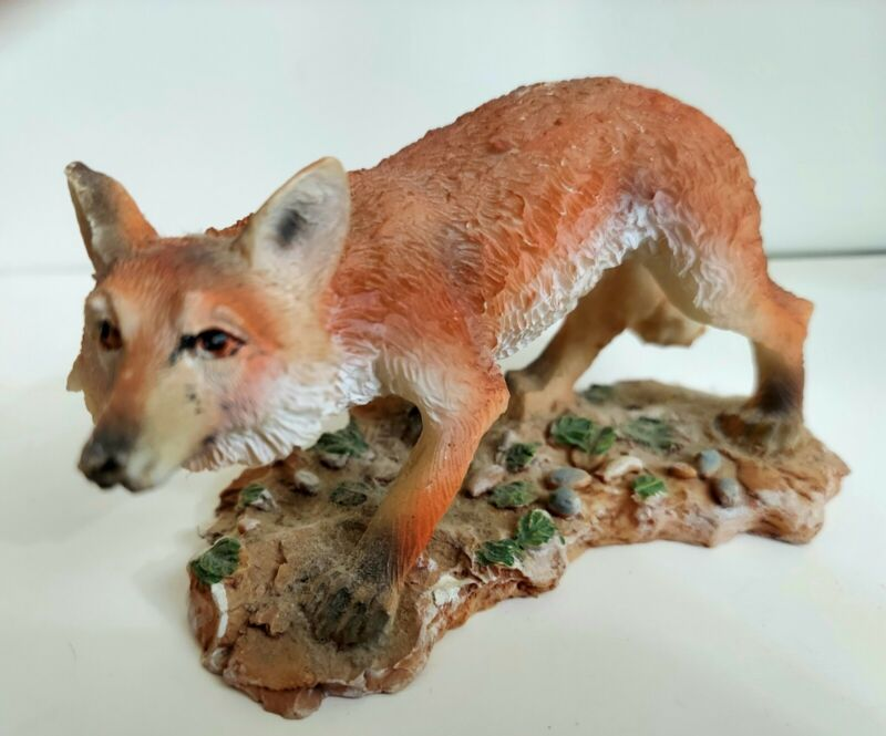 """Fox figurine crafty fox on base Resin, 5"""" by 2 and one half inches"""