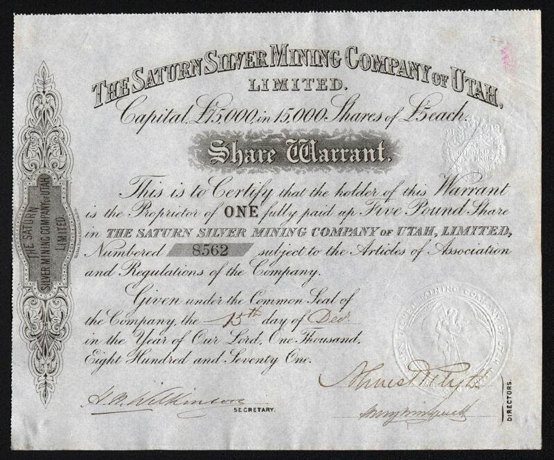 1871 The Saturn Silver Mining Company of Utah