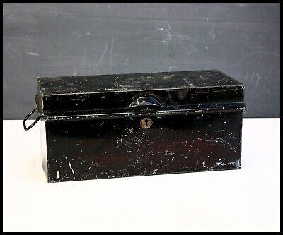 Vintage Black Tin Metal Box Deed Box No Key Storage Display Shop Prop