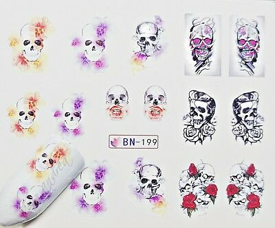 wassertransfer Nailart Nageltattoo Halloween Skull Totenkopf (Halloween Nagel Sticker)