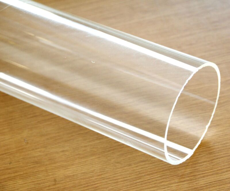"""Clear acrylic Plastic Plexiglass Pipe tube 4"""" 114 mm by foot Fits 4"""" PVC fitting"""