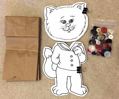 20-Pack Buttons Cat Kitten Puppet Craft, Paper-Bag Puppets Classroom, Party, VBS](Paper Bag Puppets)