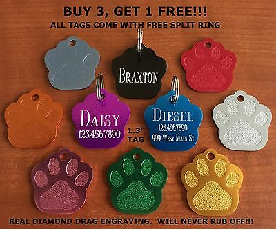 "Custom Engraved Tag Pet ID  PAW PRINT  DOG CAT ""PREMIUM QUALITY"" FREE SPLIT RING"