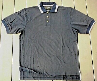 Navy blue Men's 100% cotton knit polo shirt with white trim size XL - Blue Knit Polo Shirt