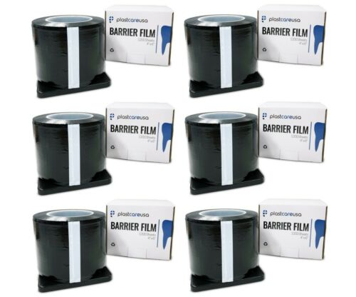 "6 x Black Barrier Tape Film, Dental Tattoo, Adhesive 1200 4"" x 6"" Sheets"