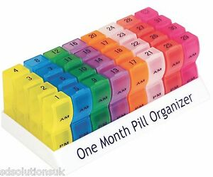 One Month Pill Tablet Container Box 32 Day Organiser 64 Compartments AM PM