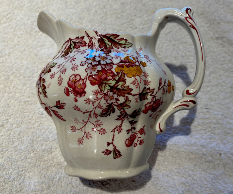 """ANTIQUE BOOTHS Made In ENGLAND """"WASHINGTON"""" Water PITCHER Pink Floral"""