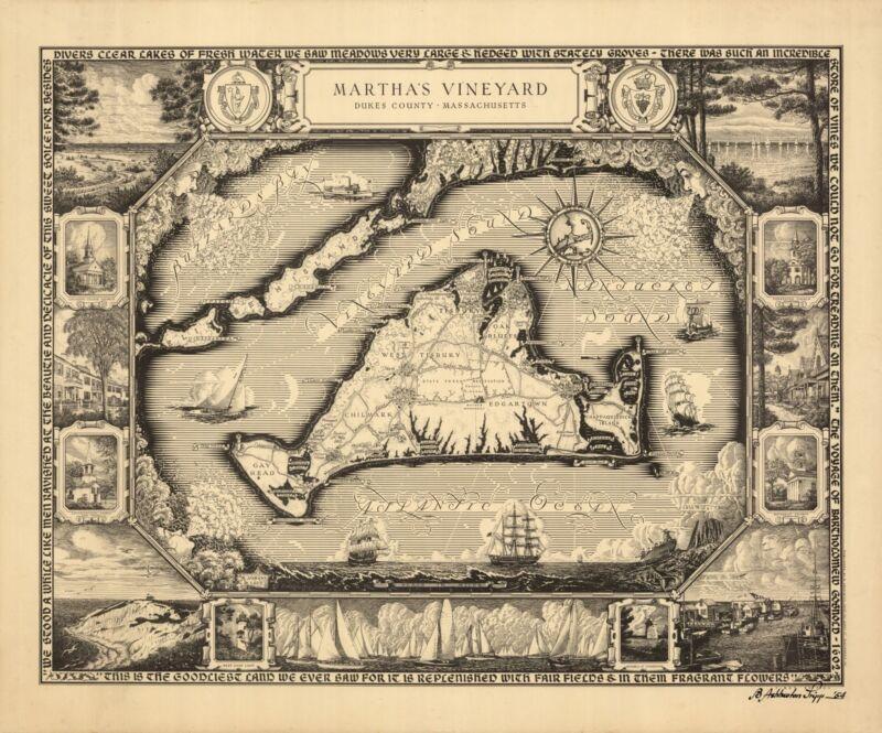 1954 Martha's Vineyard map POSTER Massachusetts towns lighthouses churches 8256