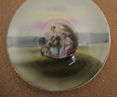 """Antiker Porzellanteller """"zwei Schäferinnen"""" handgemalt BAYERN 11 cm ca.1850 Rar!"""