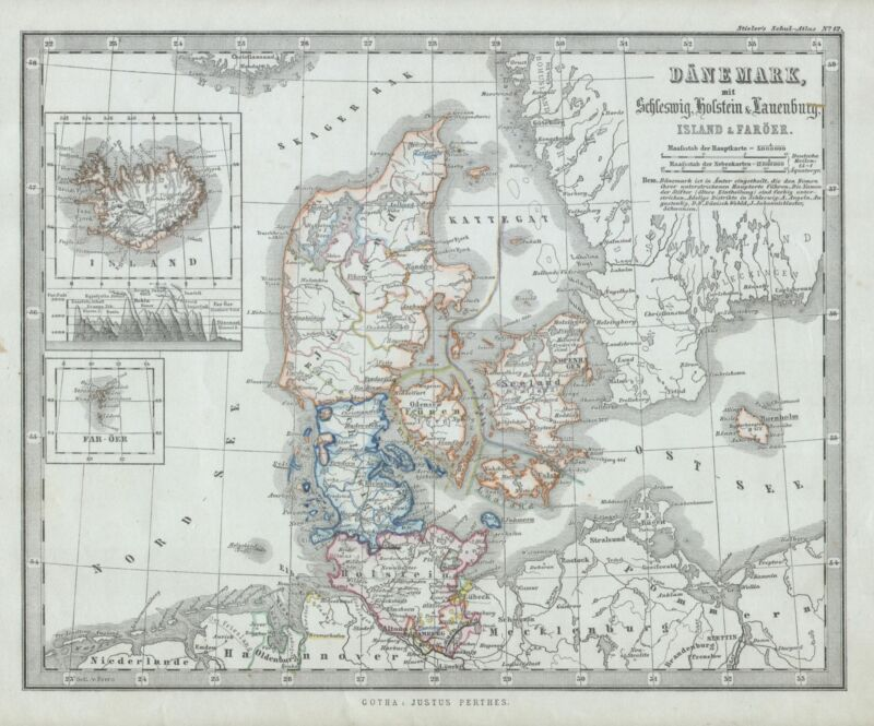 1862 Stieler Map of Denmark